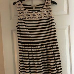 Loft off White Black Strip Dress Size Medium